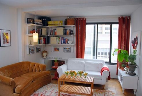 Living chico con biblioteca casa web Ideas para decorar living departamento