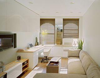 sala de estar pequeña con escritorio
