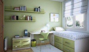 Dormitorio para niños verde manzana