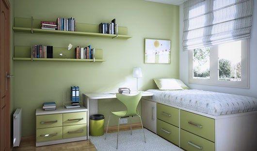 habitacion verde pequeña