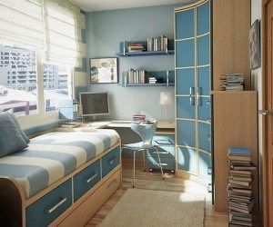 Dormitorio para niños azul y marron