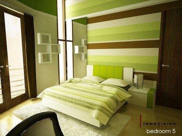 Dormitorio tonos tverde marron y blanco casa web - Dormitorio verde ...