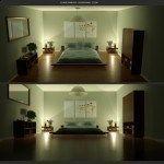 dormitorio verde minimalista y moderno