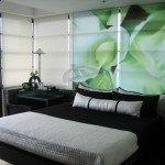 dormitorio verde y negro