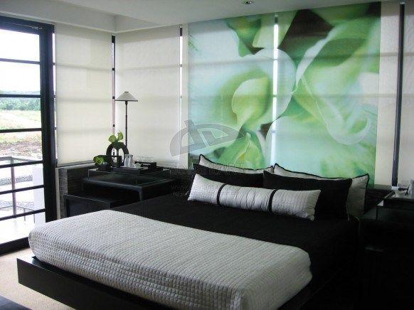 Dormitorio gris oscuro y blanco con cortinas verdes casa web for Cortinas para dormitorio blanco