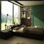 dormitorio verde y marron