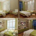 dormitorio verde y beige