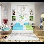 dormitorio verde y turquesa