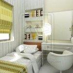 dormitorio verde a rayas