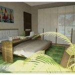 dormitorioa verde y gris