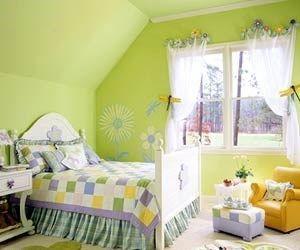 habitacion de color verde para niñas
