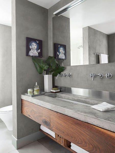 baño cemento alisado y madera
