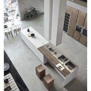 cocina moderna minimalista de cemento alisado y madera