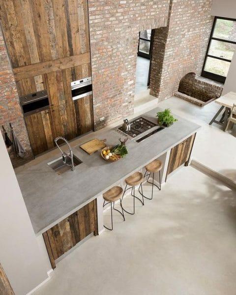 cocina rustica de cementoalisado