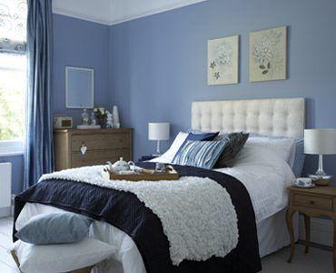 Dormitorio matrimonial azul y blanco casa web for Colores relajantes para dormitorio