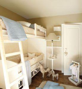 dormitorio infantil con muebles blancos