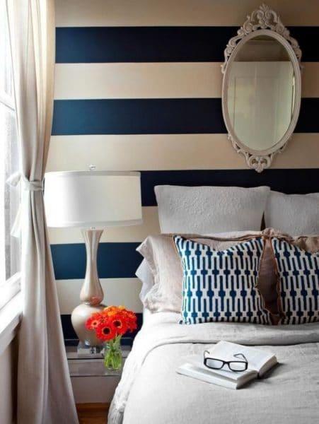 habitacion matrimonial azul y blanca
