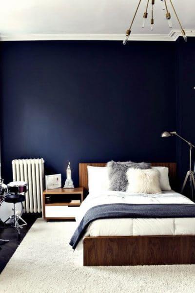 habitacion matrimonial estilo minimalista azul y blanca