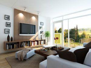 mueble televisor y biblioteca sala de estar