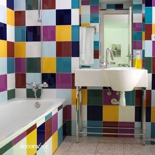 Azulejo grandes multicolor casa web for Azulejos grandes bano