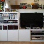 biblioteca y televisor para el living