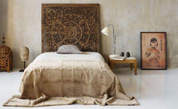 dormitorio minimalista y etnico Casa Web