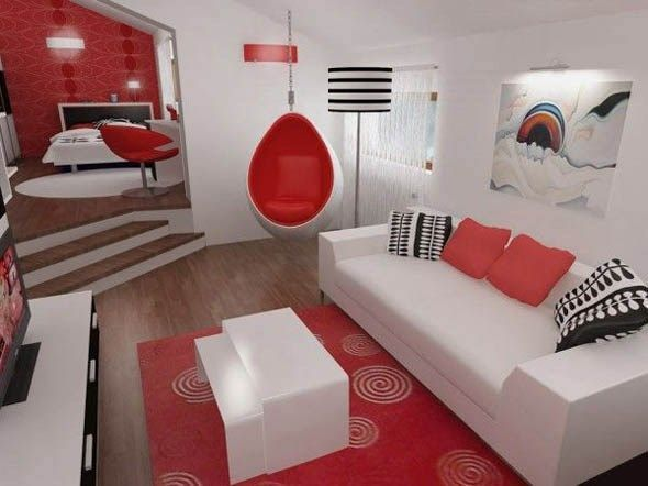 Living rojo y blanco moderno casa web for Webs decoracion online