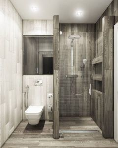 baños modernos minimalista grises
