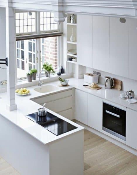 cocina en departamento con mubles blancos modernos