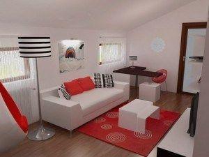 living moderno blanco rojo negro
