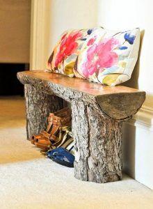 banco con troncos muebles exterior economicos