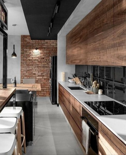 cocina moderna con muebles de madera - Casa Web