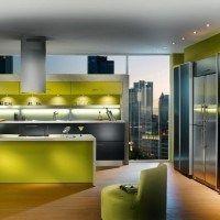 cocinas moderna verde y gris