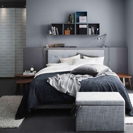 dormitorio en tonos grises