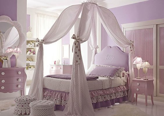 dormitorio lila elegante para niñas