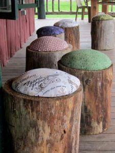 muebles exterior economicos troncos con almohadon