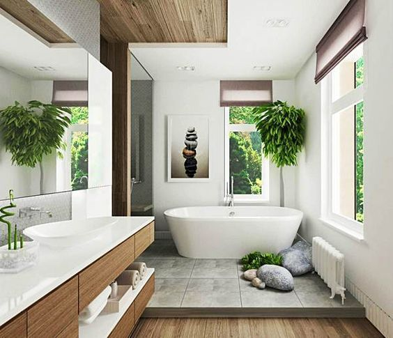 baño grande estilo zen