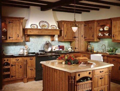 Cocina rustica con isla casa web - Muebles con ladrillos ...
