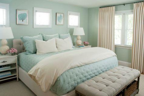 dormitorio celeste y crema tonos calidos y pasteles