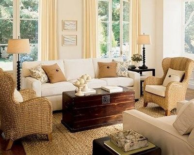 Living rustico con muebles de mimbre casa web - Decoracion mimbre ...