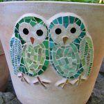 maceta decorada con mosaico