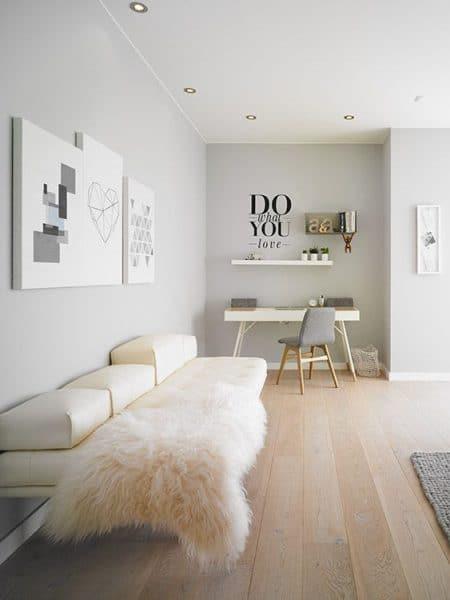 pared blanca y gris claro tonos calidos y pasteles