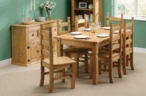 comedor con muebles de pino