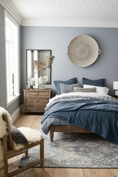 dormitorio matrimonial azul y fris