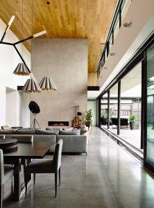 casa moderna minimalista con cemento alisado