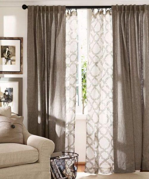 cortinas de lino para sala de estar