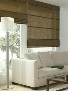 cortinas romanas en sala de estar