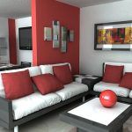 sala de estar con pared roja