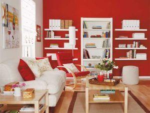 sala de estar roja y blanca