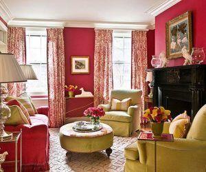 sala de estar roja y verde